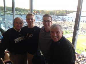 Brothers Bill Vinovich '62, Patrick Sullivan '16, Joe Murphy '16, and Norm Blake '64 attend the Michigan State vs. Purdue Game